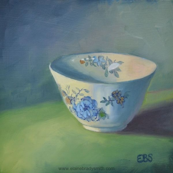"""""""Floral Cup"""" by Elaine Brady Smith, 6"""" x 6"""" oil on panel. SOLD"""