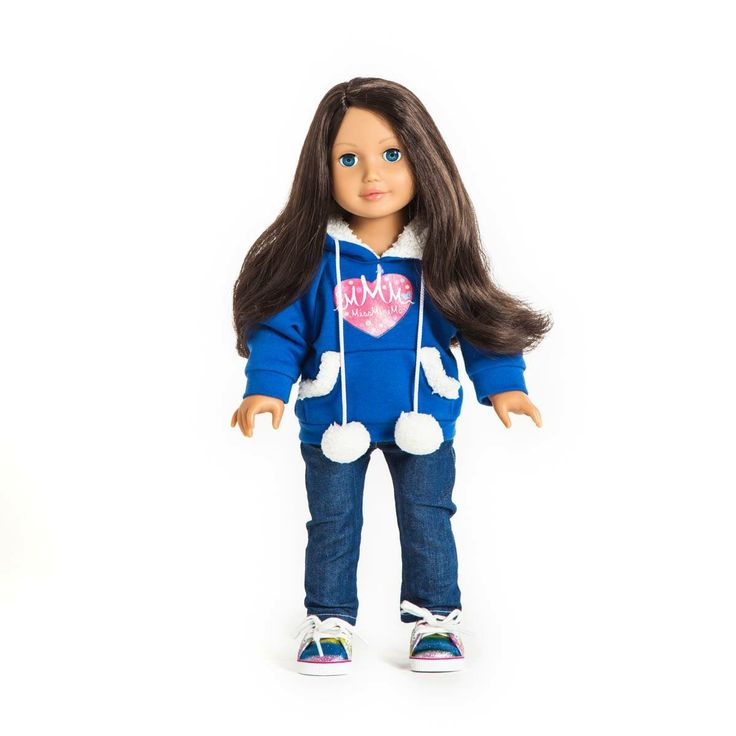 Miss Maya  She has brown hair, medium skin and blue eyes. One of our twelve dolls. #missminime#missminimedoll#missminimedolls#missmaya#brownhaired#blueeyed#beautiful#qualitydoll#girl#musthave#doll