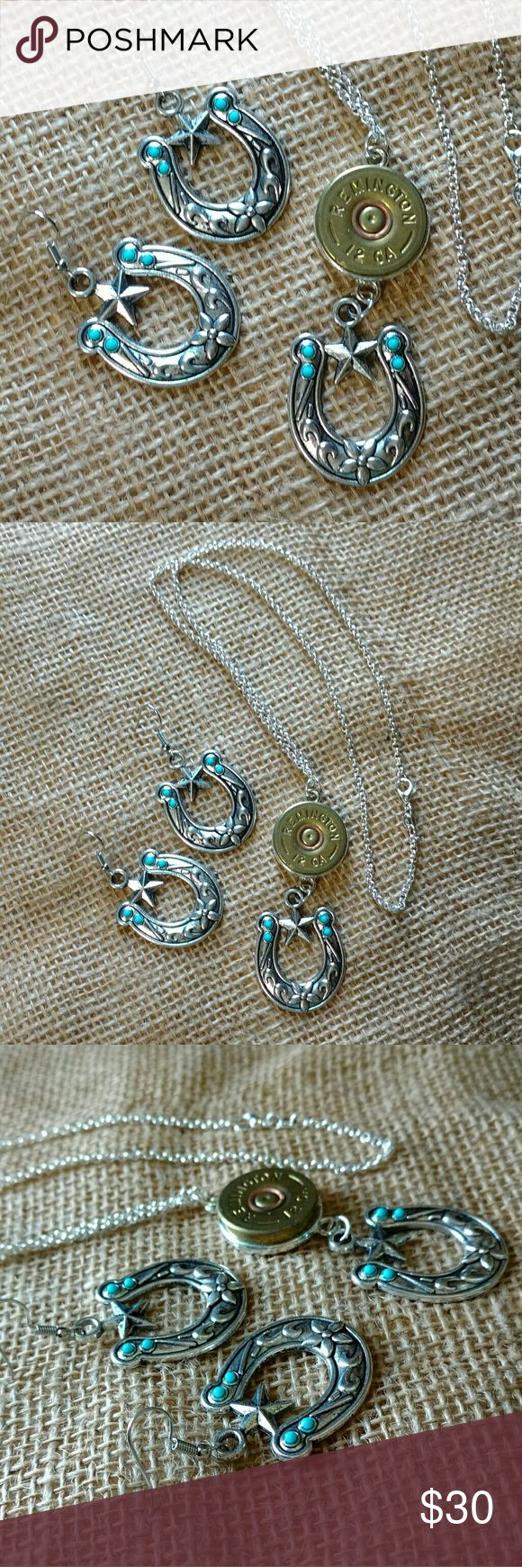 Horseshoe Shotgun Shell Jewelry Set Genuine 12-gauge shotgun shell cut and hand polished, placed in a setting with large horseshoe charm with small faux turquoise accents.  Sterling silver roho necklace is 20 inches.   Comes with matching charm earrings, fish-hook style hypoallergenic nickel-free.  Charm is 1-1/2 x 1 inches.  Handmade by me.  Made in USA.  Made in Michigan. Variations available upon request. Handmade Jewelry