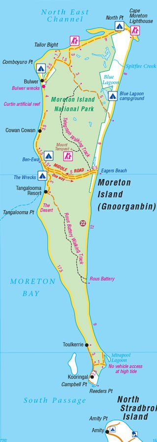 Morton Island Qld - A basic map for exploring Moreton Island's best camping and 4WD destinations.