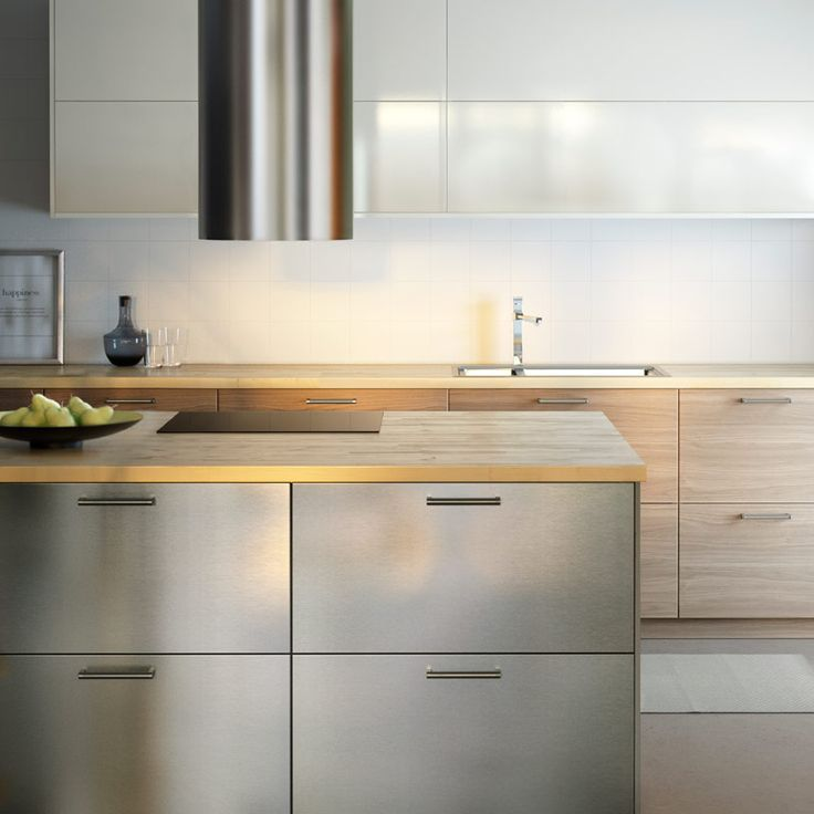 Modern IKEA kitchen with wooden worktops and a combination of stainless  steel, light-wood
