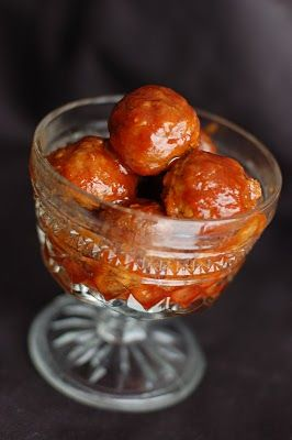 Sweet and Sour Meatballs, using frozen meatballs. A little different from the grape jelly/chili sauce meatballs.