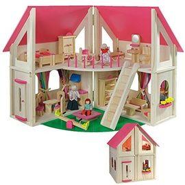 howa - Casa de muñecas con 21 piezas de mobiliario y 4 muñecas 7013