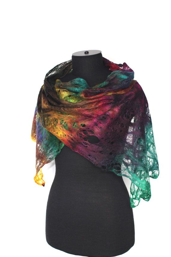 Scarf Cobweb Felted Scarf Fashion Wrap by FeltedPleasure on Etsy