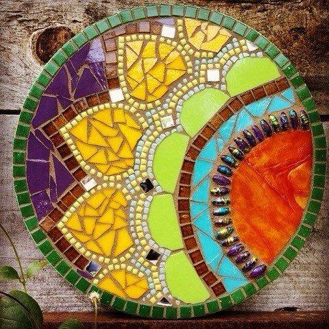 handmaid ooak mosaic mandalla wall art by thyme again mosaic studio mosaic designsmosaic ideasmosaic