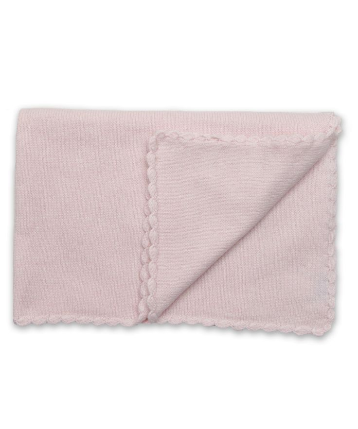 Cashmere Baby Blanket with Crochet Trim in Pink
