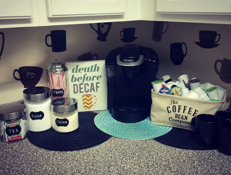 Make A Coffee Station: For all of your coffee addicts out there, this will be a well utilized space. If you have some extra counter space, putting something together like this little station really flows nicely with the kitchen and makes for unique and attractive decor.