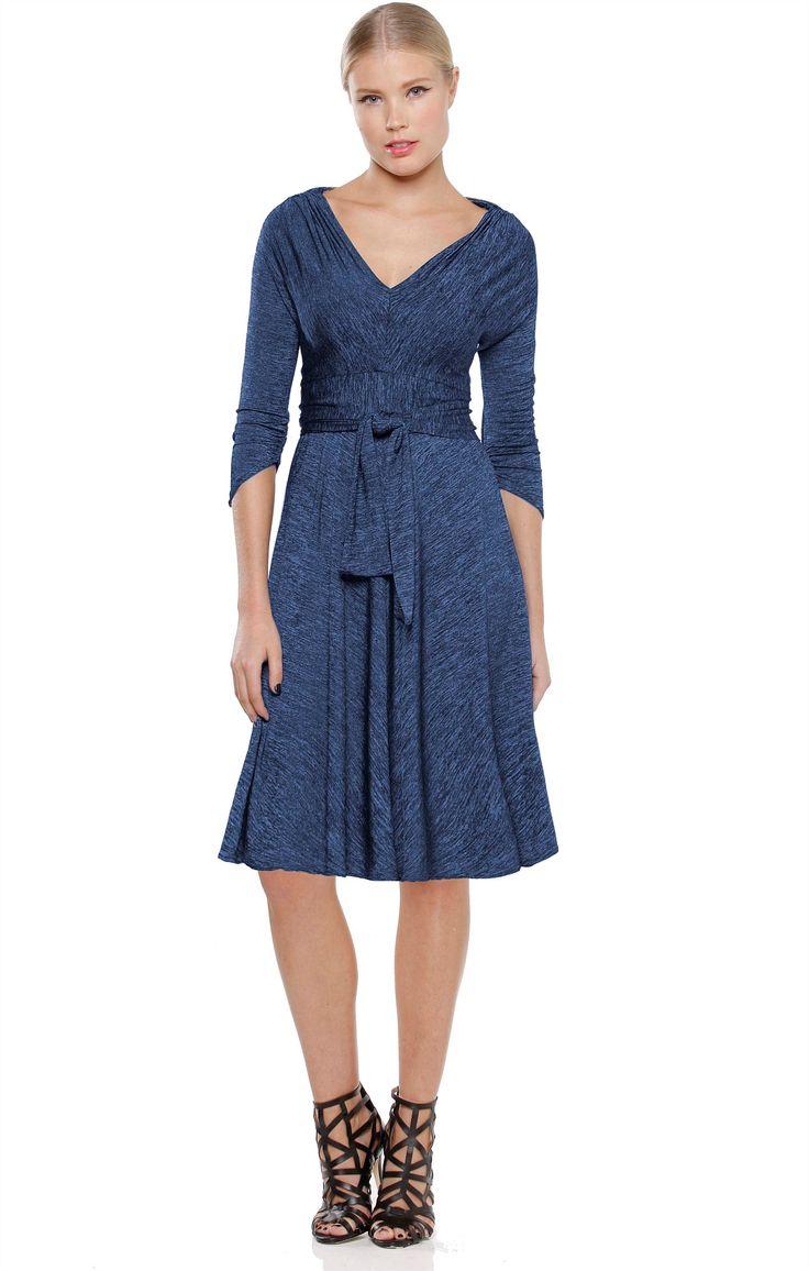 CORSO UMBERTO 3/4 SLEEVE V-NECK JERSEY A-LINE DRESS IN BLUE