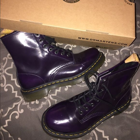 Purple doc martens Brand new. Bought a while back & they never left my closet. Size 9 Dr. Martens Shoes Combat & Moto Boots