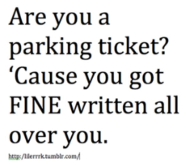 """Are you a parking ticket? 'Cause you got FINE written all over you."""