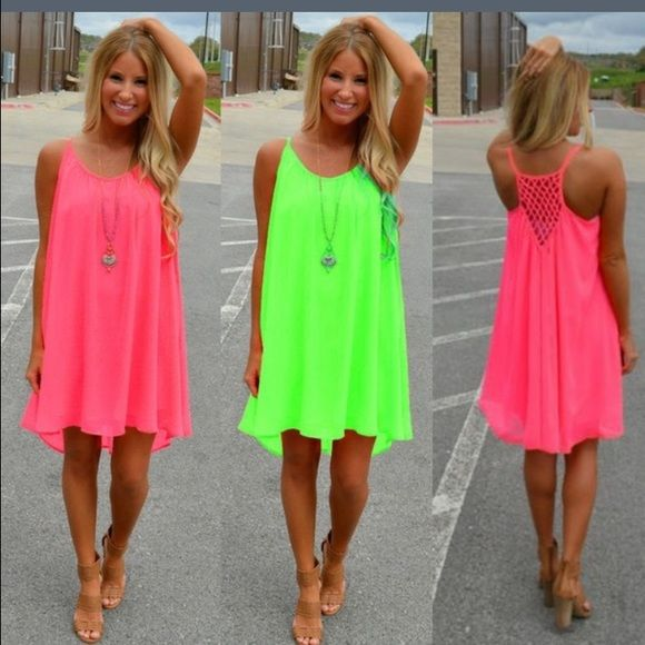Orange and Pink Summer Dress Gorgeous, bright neon Color! flowing fabric, cute design makes this THE beach dress! Dresses Midi