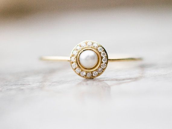 White pearl wedding ring with diamonds in 14k gold, white pearl engagement ring.  This ring is handcrafted in 14k yellow gold.  The center stone is the