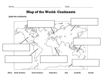 label map of the world continents oceans mountain ranges worksheets social studies and. Black Bedroom Furniture Sets. Home Design Ideas