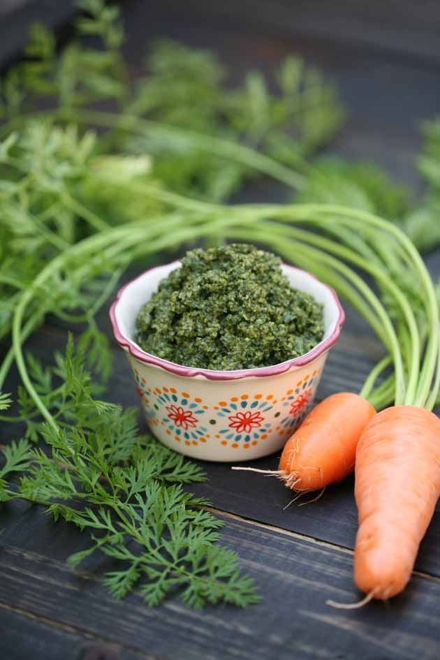 Here is a way to use more of your harvest. Instead of tossing the carrot top, make carrot top pesto with them. It's easy and very tasty. How to make carrot top pesto. #LadyLee'sHome