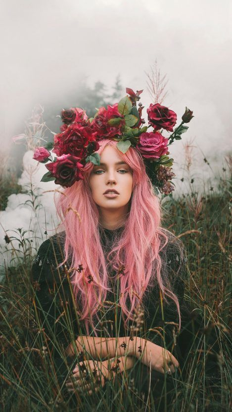 Girl Of Nature Flowers Crown Iphone Wallpaper Iphone Wallpapers
