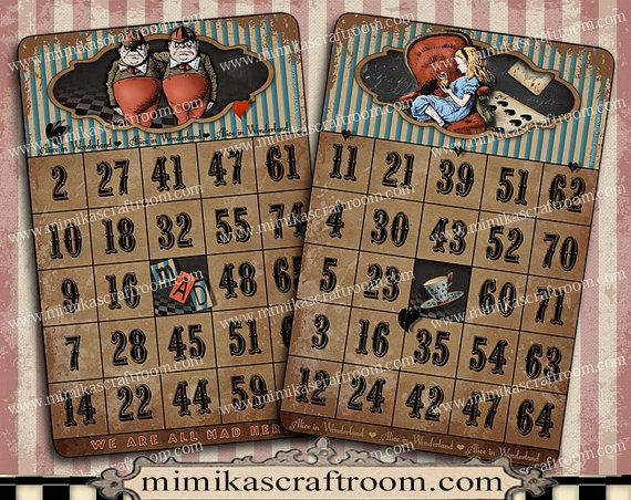 Alice in Wonderland digital Cards 4x6 B alice by mimikascraftroom