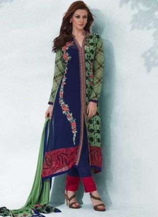 Magical Blue Turquoise Embroidery Work Viscose Printed Pakistani Suit