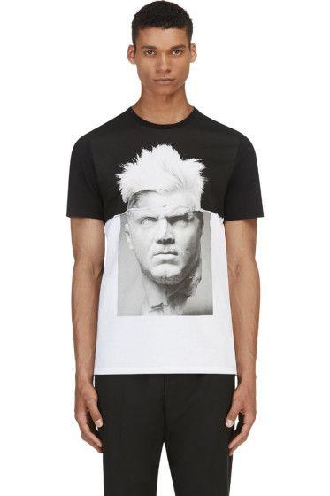 Neil Barrett: Black & White Punk Marble T-Shirt
