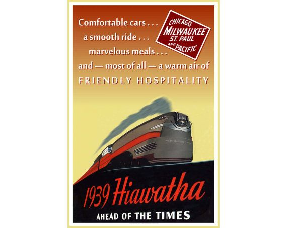 "Milwaukee Road 1939 HIAWATHA - New Retro Poster 24""x 36""  Railroad Streamliner Train Art Print 019 - Also available in 20""x 30"" size"