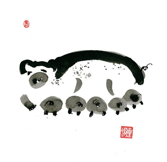 Pig Year of the Pig Chinese Zodiac Original Zen Ink by ZenBrush .take 10%with code PIN10ZEN  @ www.zenbrush.etsy.com