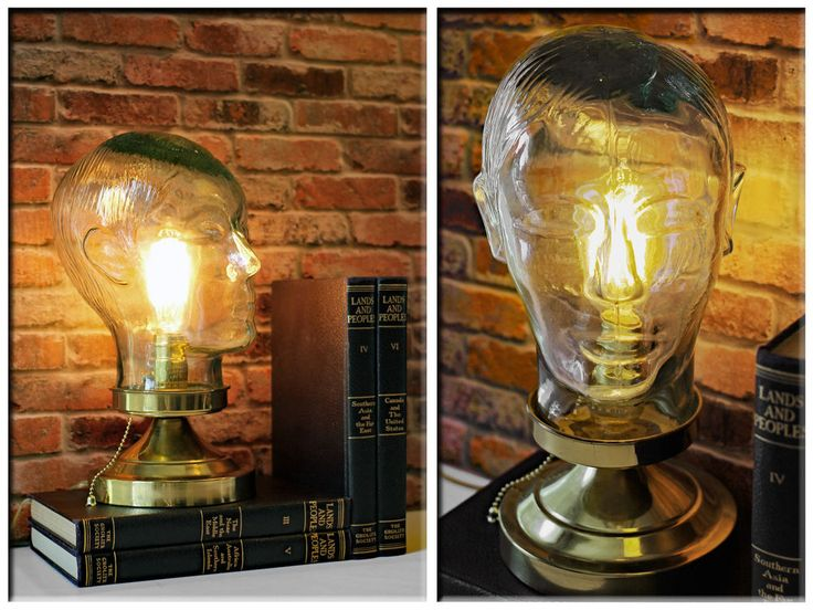 vintage re purposed clear green glass mannequin head up cycled industrial lamp