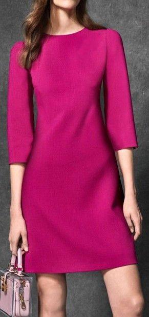 Half-Sleeve Shift Dress, Deep Pink