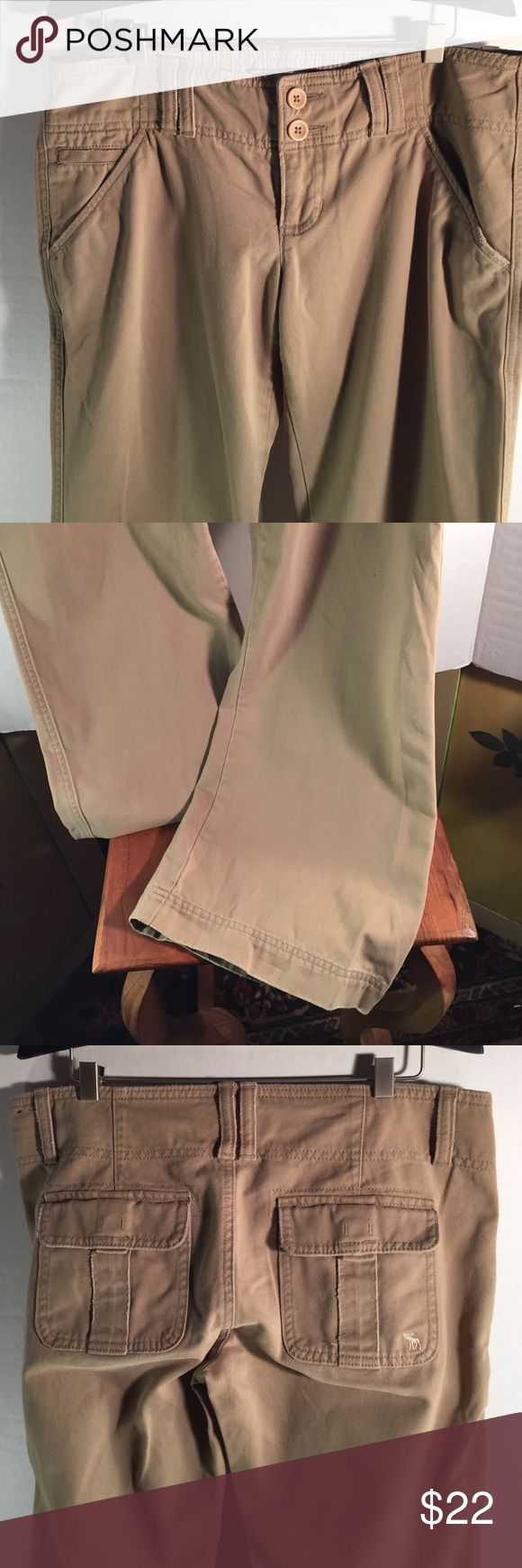 Abercrombie and fitch kaki pants Great condition flare leg with a destressed  feature. Only worn a few times. In Seam is 30 inches. 4P. Abercrombie & Fitch Pants Boot Cut & Flare
