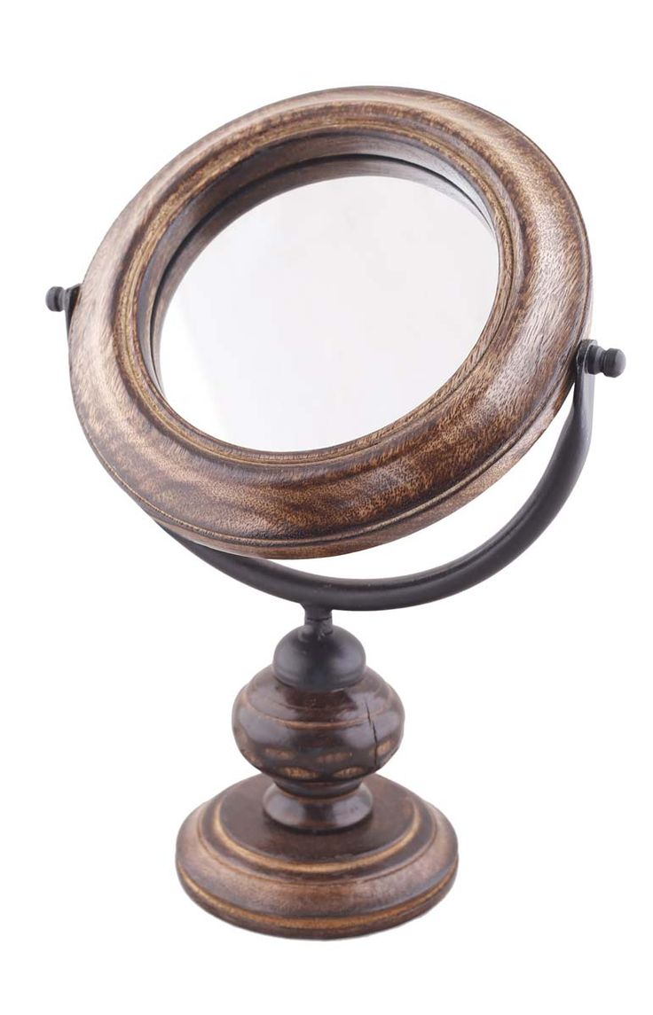 """Wholesale Round Table Mirror with Mango Wood Stand - Bulk Buy 13.2"""" Mirror with Handmade Antique-Look Wooden Stand - Home & Table Decor Mirrors from India"""