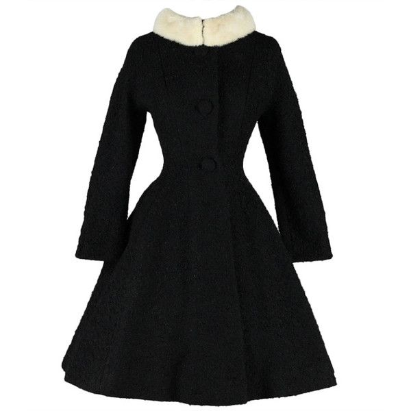 Vintage 1950's Lilli Ann Wool Boucle Mink Collar Princess Coat ($545) ❤ liked on Polyvore featuring outerwear, coats, dresses, black, woolen coat, lilli ann coat, full wool skirt, full skirts and vintage wool coat