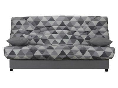 Housse de clic clac matelassée tissu-ouate 350gr/m² triangle scandi gris 130cm SUZANNE
