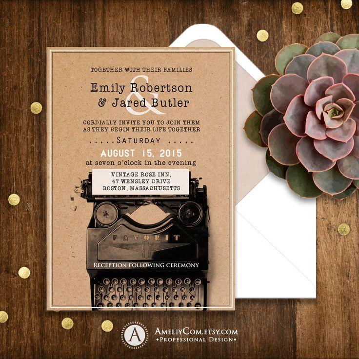 Kraft Wedding Invitations Rustic Typewriter Printable Unique Original Weddings Invitation Template EDITABLE Retro Country Invite Download