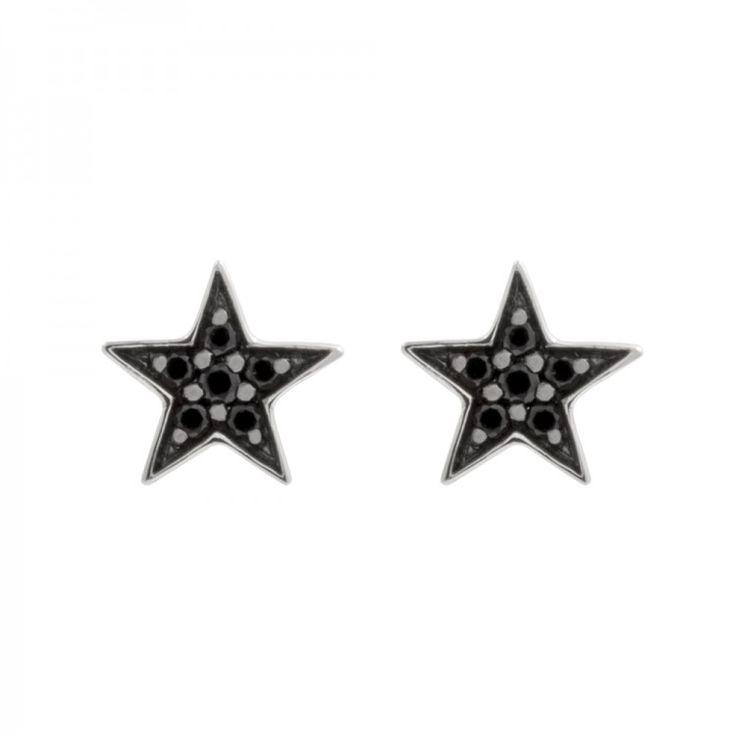 Pendientes de estrella de pavé en plata de ley