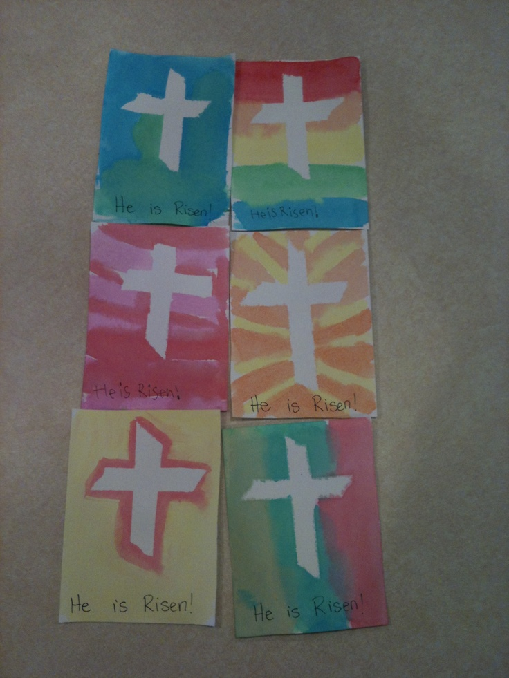Easy Easter craft - my kiddos are taking these to visit some shut-ins from church. Cut Watercolor paper into four pieces (postcard size), use painter's tape to make a cross in the middle, let them watercolor over the whole card. After it dries, peel the tape off and add a message. We made 50 cards and no two were alike! He is Risen!