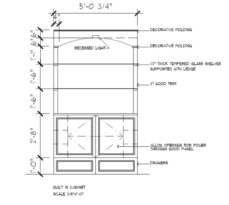 Cad Drawing For Small Custom Built In Entertainment Center