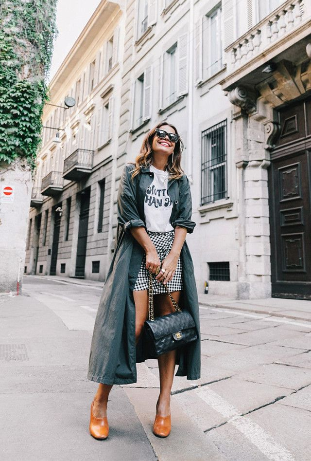 On Sara Martin: Zara trench and skirt; Brandy Melville tee; vintage Chanel bag; Mango Heel Leather Shoes ($120).