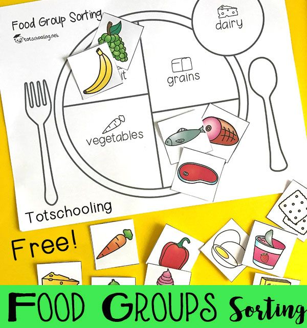 FREE sorting activity for preschool and kindergarten to learn about the five main food groups. Teach kids about healthy eating and balanced meals.