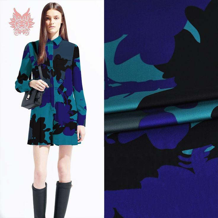 40.7$  Buy here - Designer luxury floral print spandex silk fabric for dress stretch silk tissue cloth tela tejido 24mm SP3945  Free Ship   #aliexpresschina