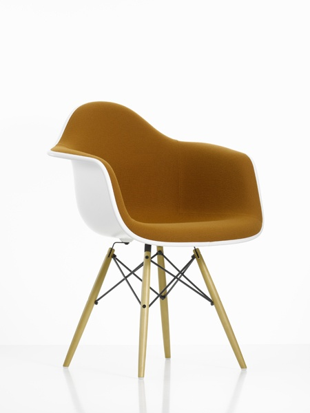 Charles & Ray Eames Plastic Armchair Wooden Base DAW (with seat upholstery) Designed in 1950 - Vitra