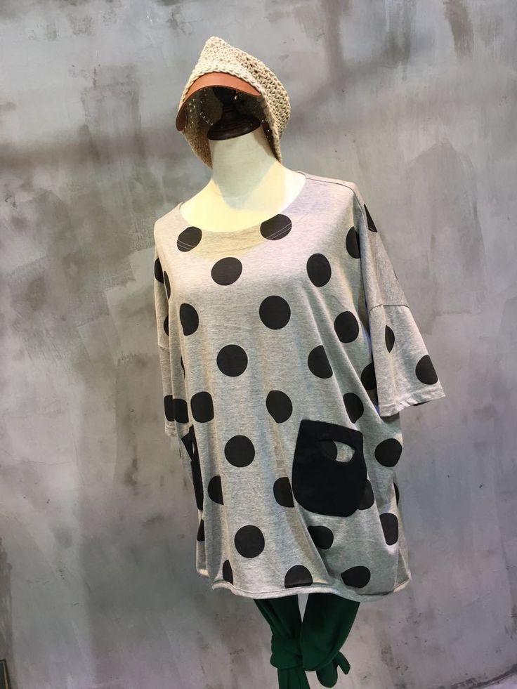 2017 Spring Patch Pockets Cotton T-shirt Polka Dot Casual T-shirt    #t-shirt #dot #cotton #causal #loose #tshirt #causal #cool #spring