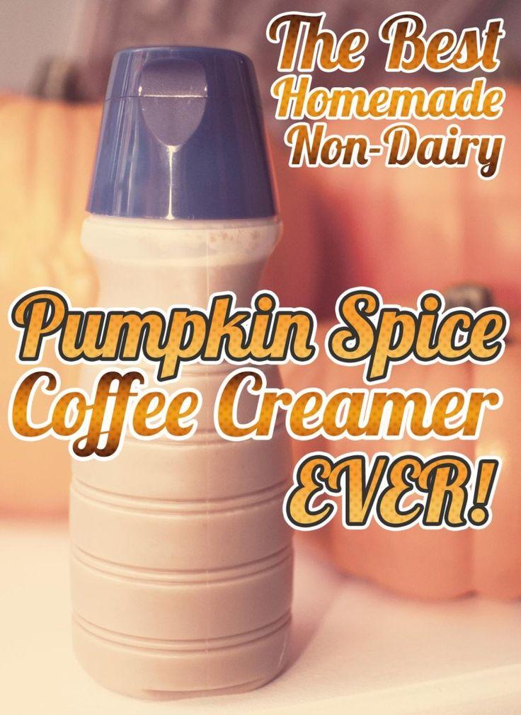 Best Homemade Pumpkin Spice Creamer EVER! Use non-dairy powder coffee cream, sugar, water, pumpkin puree, and some spices!
