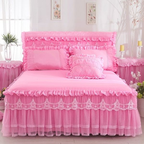 1 Piece Lace Bed Skirt 2pieces Pillow Cases Wedding Princess Bedding Girls Bedspread Bed Sheet For Gifts King Queen Full Size Wish Lace Bedding Bed Cover Design Princess Bed