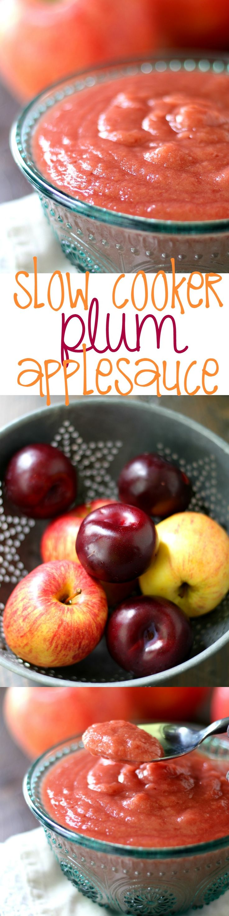 Naturally sweet healthy homemade slow cooker applesauce made pretty pink with the addition of plums. #AD #KrogerLittleSnugglers #Pmedia