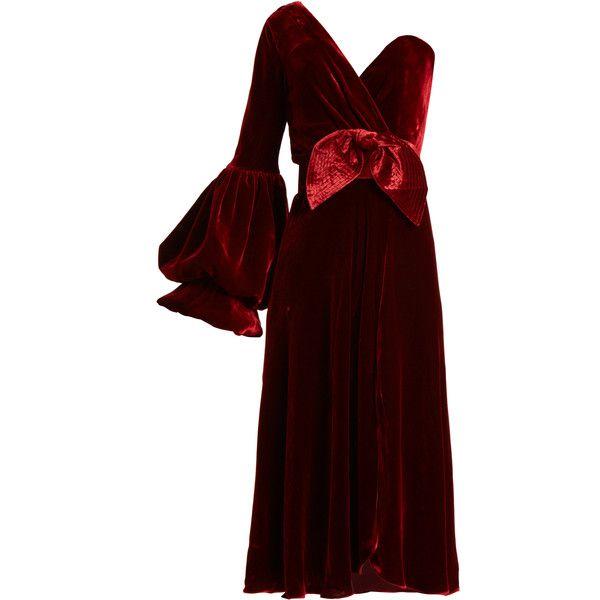 Johanna Ortiz Bow-detail one-shoulder velvet midi dress ($1,437) ❤ liked on Polyvore featuring dresses, burgundy, burgundy long dress, one shoulder cocktail dress, red velvet dress, velvet cocktail dress and asymmetrical cocktail dress