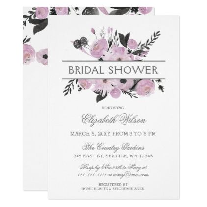 Purple Watercolor Floral Spring Bridal Shower Card - floral style flower flowers stylish diy personalize