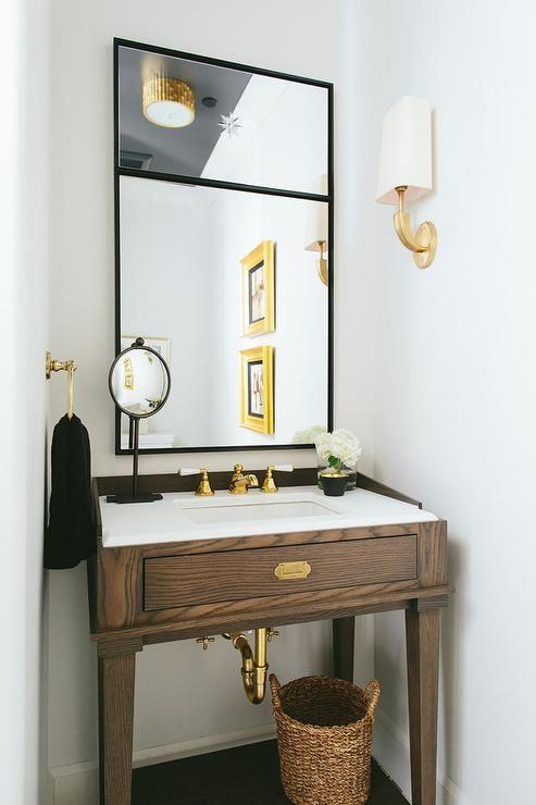 Brown And Gold Powder Room Boasts A Walnut Washstand