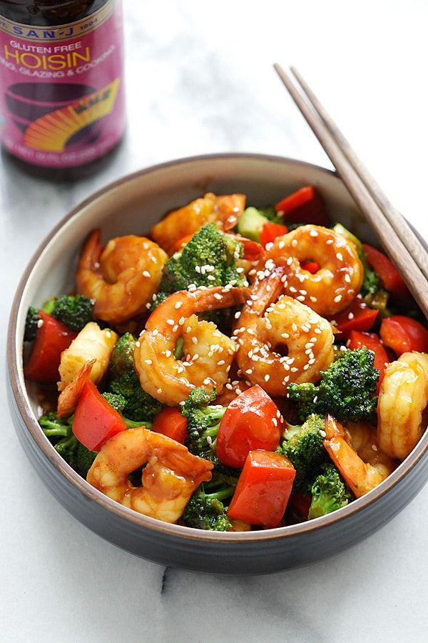 Hoisin Shrimp with Broccoli - Juicy shrimp stir-fry with San-J Hoisin Sauce and healthy broccoli. The easiest dinner for the entire family   rasamalaysia.com