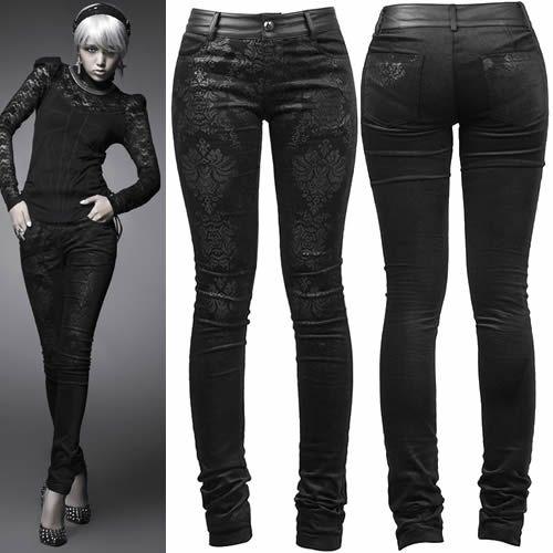 Black Floral Slim Fit Gothic Burlesque Clothing Pants Leggings Women SKU-11404273