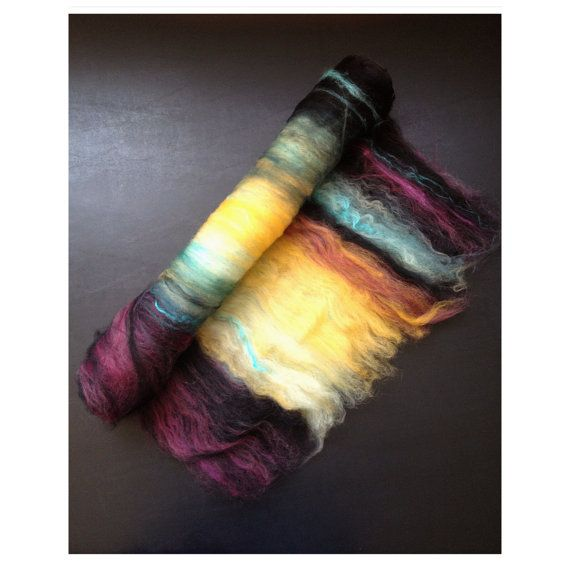 Cosmic Dance - YARNSHINE FIber Arts-nice color combo. I have been dyeing and carding recently, and this is giving me some more ideas.