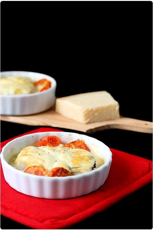 Gratin de colin à la mozzarella et au basilic