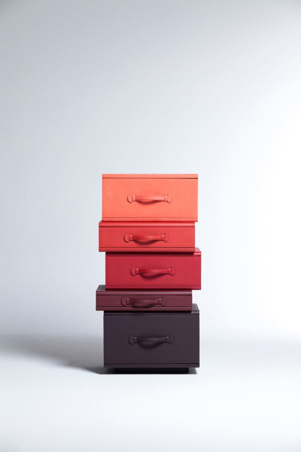 Travel Towers: Leather Suitcase Furniture by Maarten De Ceulaer in home furnishings art  Category